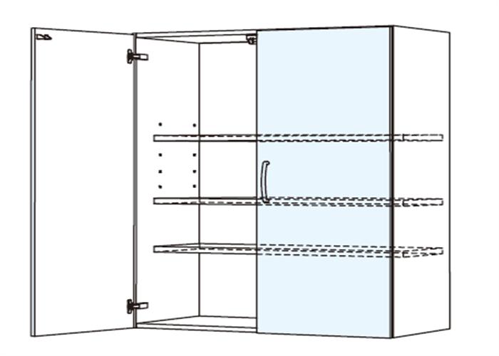 トールキャビネット 食器戸棚上部ユニット JTCBU-90*★T