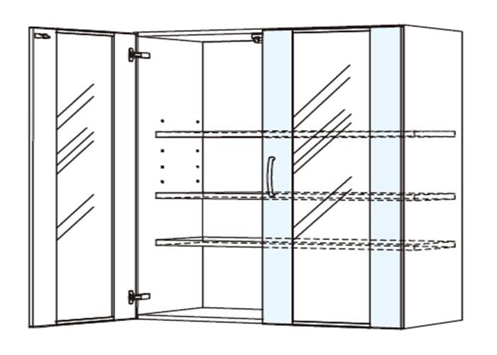 トールキャビネット 食器戸棚上部ユニット JTCBU-90G*★T