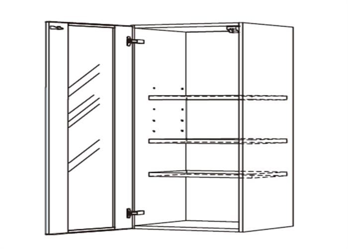 トールキャビネット 食器戸棚上部ユニット JTCBU45G*★L/RT