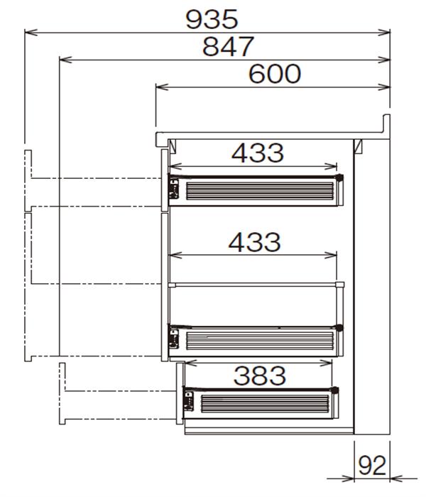 ベースキャビネット 調理キャビネット JBTFM-75DR*★