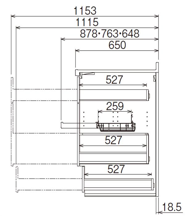 ベースキャビネット 調理キャビネット JBTFJ-B50BDR*★