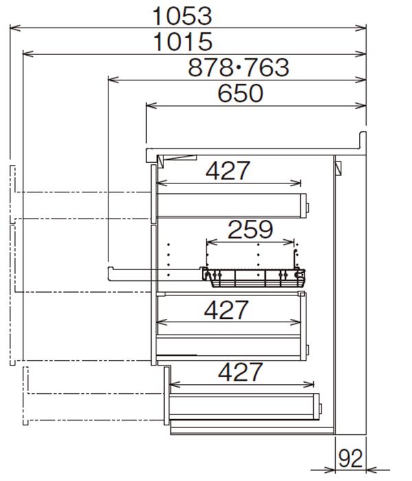 ベースキャビネット 調理キャビネット JBTF-DB30BDR*★