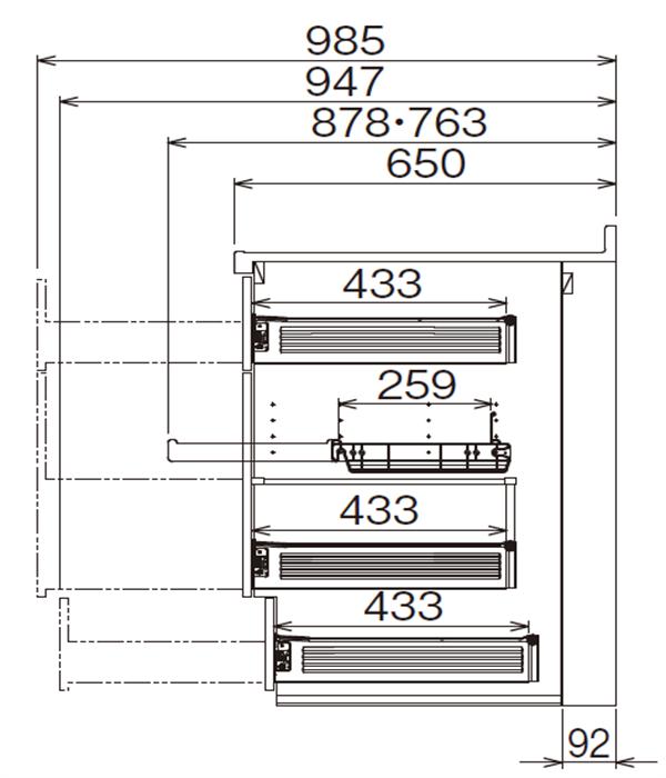ベースキャビネット 調理キャビネット JBTF-45DR*★