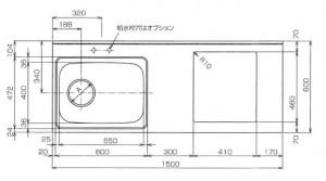 SHシリーズコンパクトワークトップ寸法図