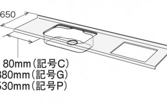 HOUシリーズステンレスワークトップ寸法図