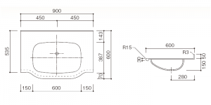 人工大理石洗面器一体カウンターBHS-101B-1EK寸法図