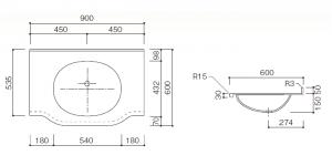 人工大理石洗面器一体カウンターBHS-102B-1EK寸法図