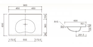 人工大理石洗面器一体カウンター BHS-103A-1EK寸法図