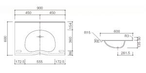 人工大理石洗面器一体カウンターBHS-103D-1EK寸法図