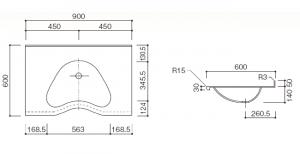 人工大理石洗面器一体カウンターBHS-104A-1EK寸法図