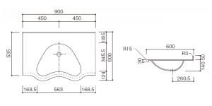 人工大理石洗面器一体カウンター BHS-104B-1EK寸法図