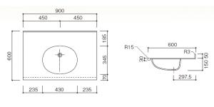人工大理石洗面器一体カウンターBHS-105A1寸法図