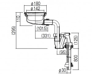 コーリアン900Jシンク薄型排水部品寸法図