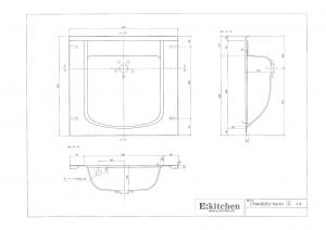 洗面器一体カウンターCT600寸法図