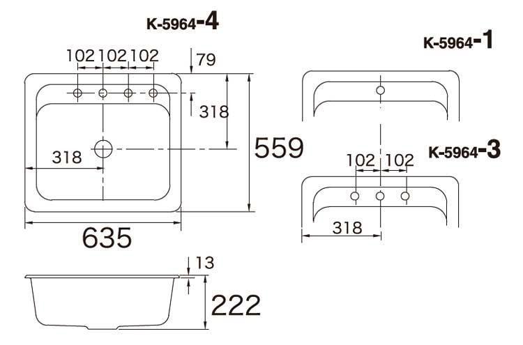 陶器シンク Alcott/Interlace オルコット/インターレース K-14571-FC