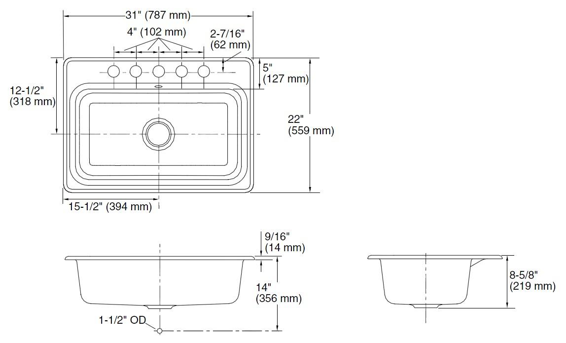 鋳物ホーローシンク Bakersfield ベイカーズフィールド K-5832-5U