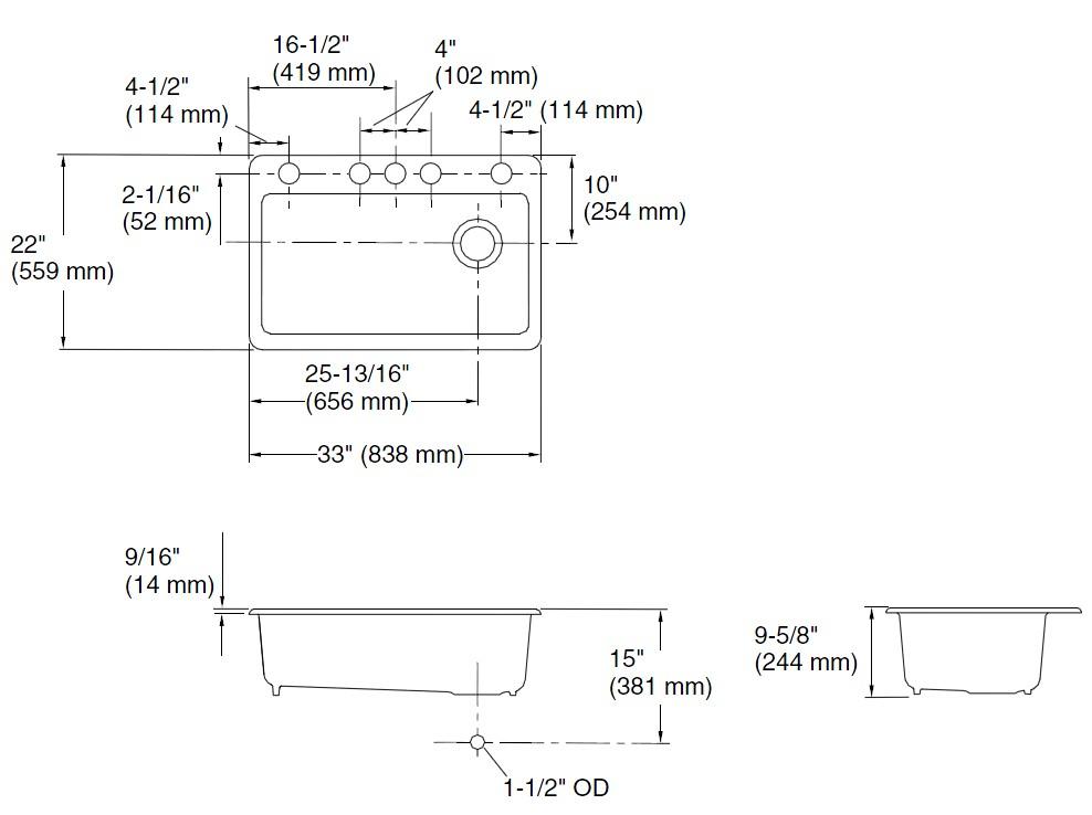 鋳物ホーローシンク Riverby リバビー K-5871-5UA3