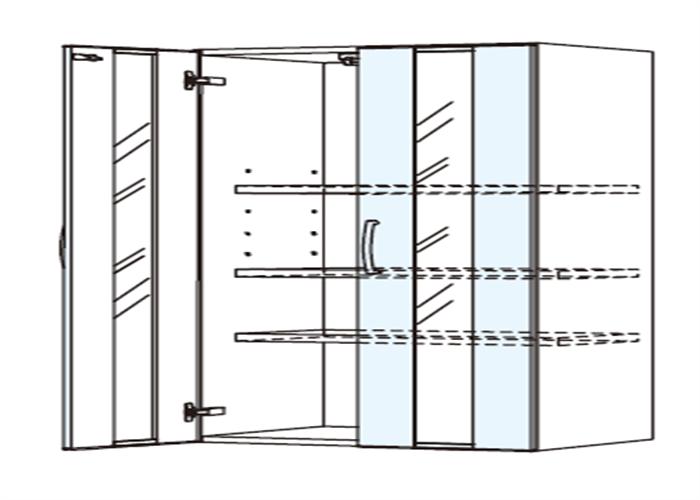 トールキャビネット 食器戸棚上部ユニット JTCBU-75G*★T
