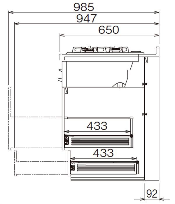 ベースキャビネット コンロキャビネット JBG(G)H-135D*★L/R