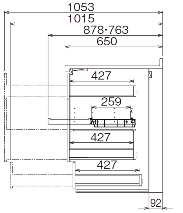 ベースキャビネット 調理キャビネット JBTF-DB75BDR*★