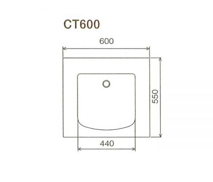 BMC洗面一体カウンターCT600寸法図