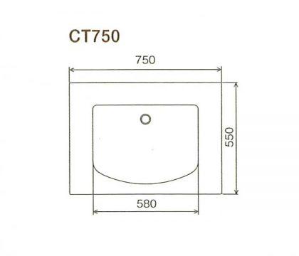 BMC洗面一体カウンターCT750寸法図