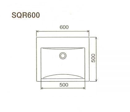 BMC洗面一体カウンターSQR600寸法図