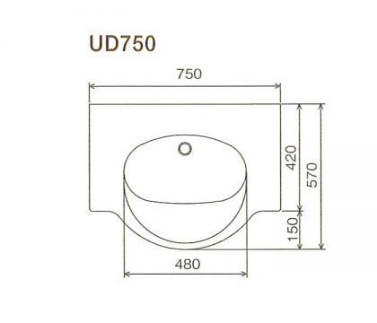 BMC洗面一体カウンターUD750寸法図
