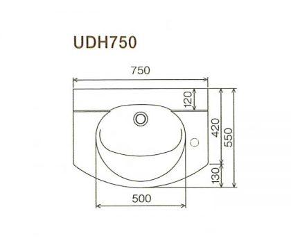 BMC洗面一体カウンターUDH750寸法図