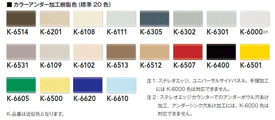 カラーアンダー加工樹脂色