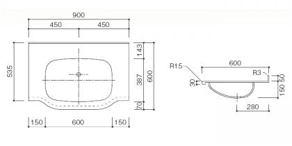 人工大理石洗面カウンターBHS-101B寸法図