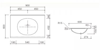 人工大理石洗面カウンターBHS-102A寸法図