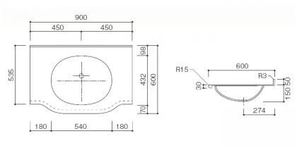 人工大理石洗面カウンターBHS-102B寸法図
