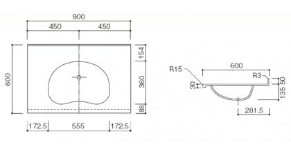 人工大理石洗面カウンターBHS-103A寸法図
