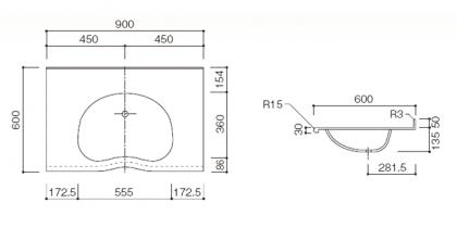 人工大理石洗面カウンターBHS-103B寸法図