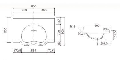 人工大理石洗面カウンターBHS-103C寸法図