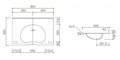 人工大理石洗面カウンターBHS-103D寸法図