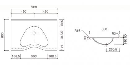 人工大理石洗面カウンターBHS-104A寸法図