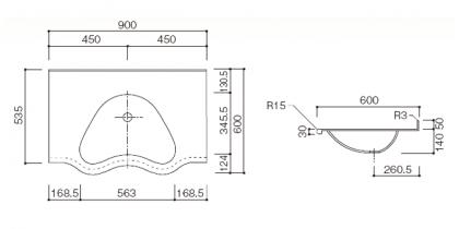 人工大理石洗面カウンターBHS-104B寸法図