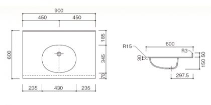 人工大理石洗面カウンターBHS-105A寸法図