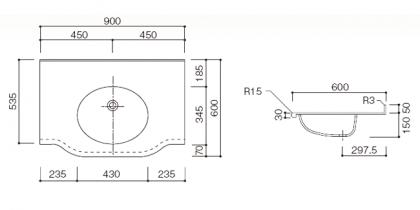 人工大理石洗面カウンターBHS-105B寸法図