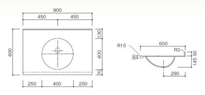 人工大理石洗面カウンターBHS-106A寸法図