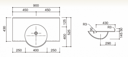 人工大理石洗面カウンターBHS-106B寸法図