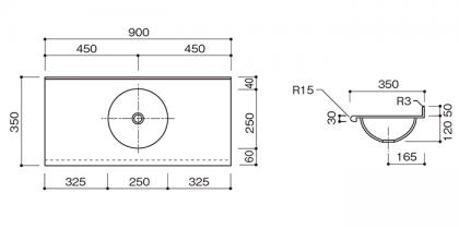 人工大理石洗面カウンターBHS-107A寸法図