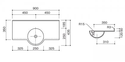人工大理石洗面カウンターBHS-107B寸法図