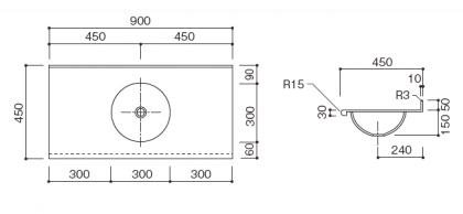 洗面カウンターBHS-300寸法図