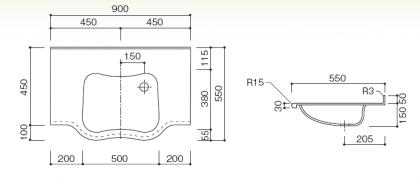 洗面カウンターBHS-410寸法図
