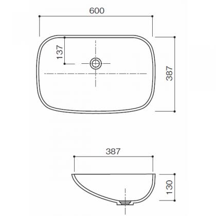 人工大理石洗面器HS-101寸法図