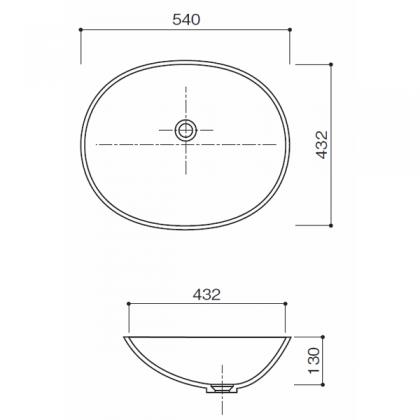人工大理石洗面器 HS-102寸法図