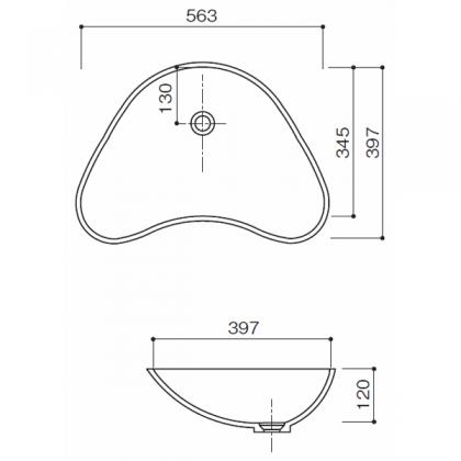 人工大理石洗面器 HS-104寸法図